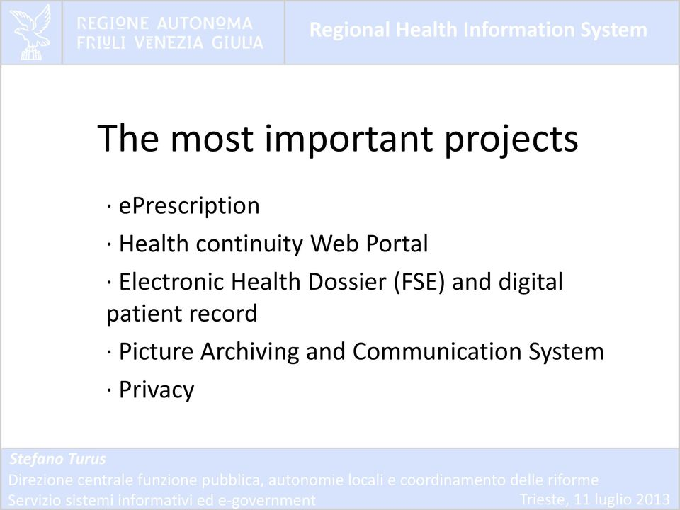 Health Dossier (FSE) and digital patient
