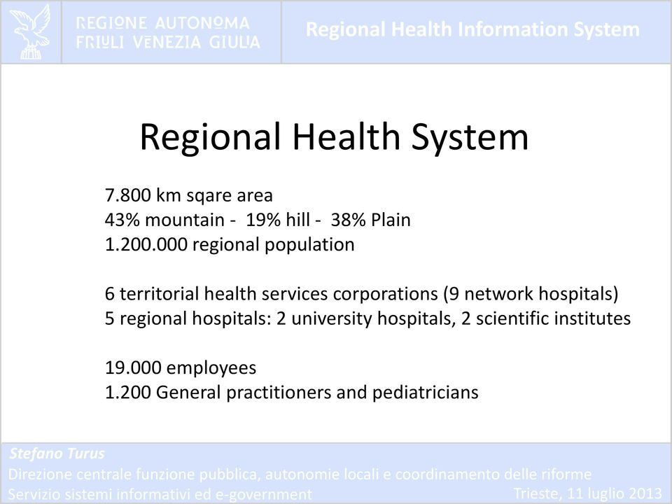 000 regional population 6 territorial health services corporations (9 network