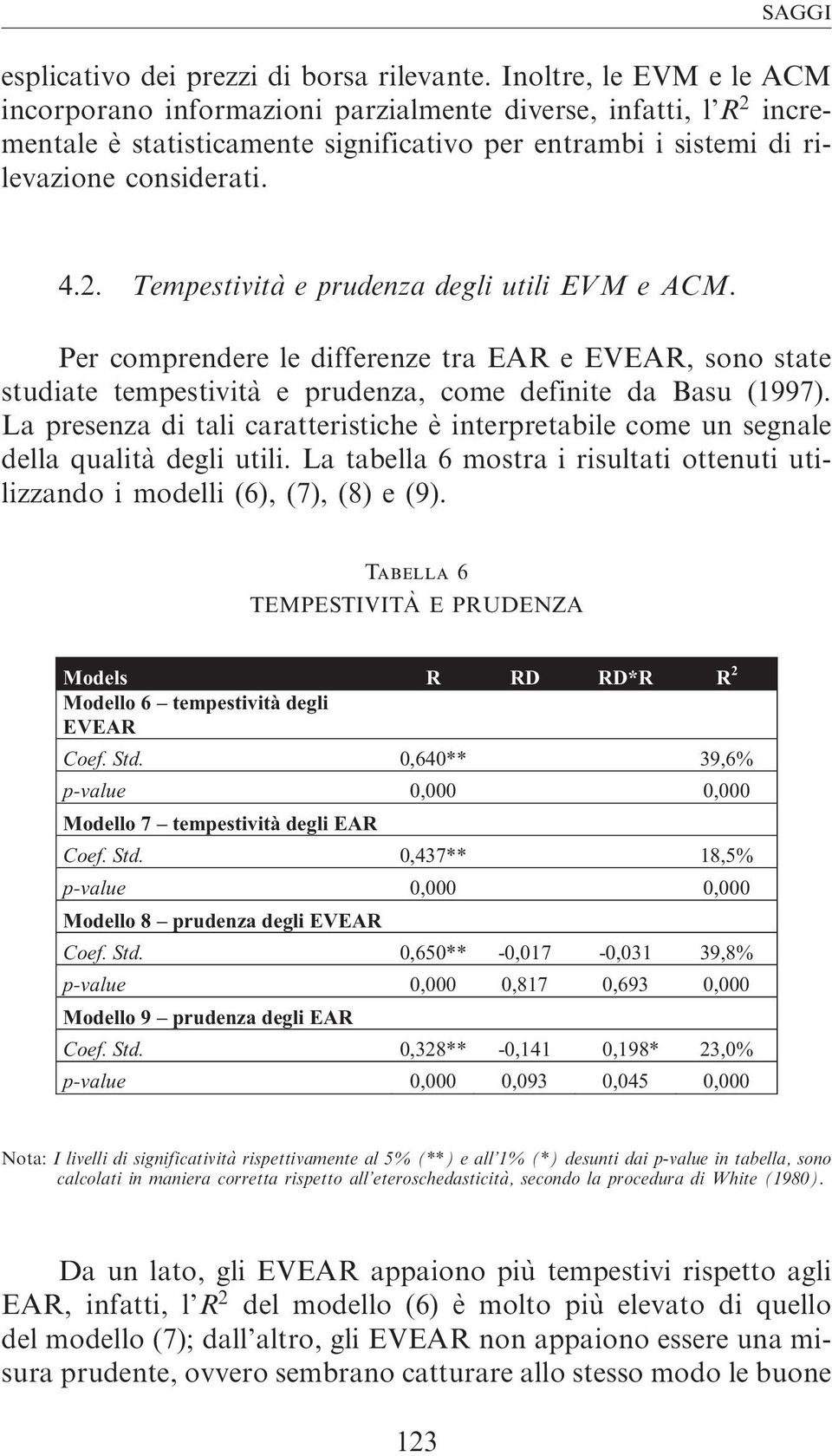 Per comprendere le differenze tra EAR e EVEAR, sono state studiate tempestivita` e prudenza, come definite da Basu (1997).