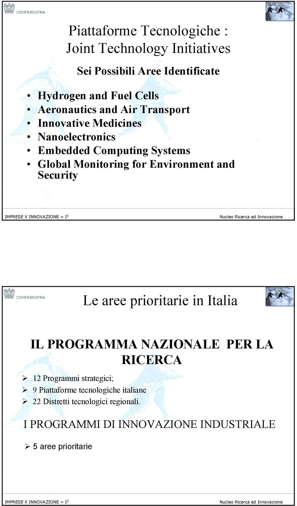 Environment and Security 18 Le aree prioritarie in Italia IL PROGRAMMA NAZIONALE PER LA RICERCA! 12 Programmi strategici;!