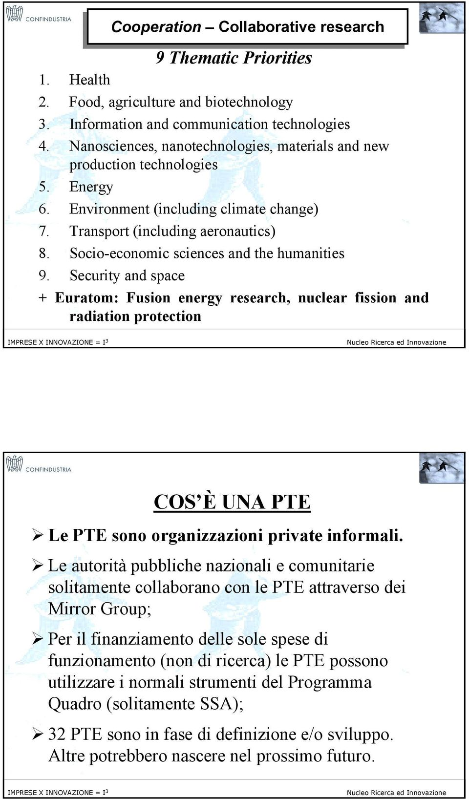 Socio-economic sciences and the humanities 9. Security and space + Euratom: Fusion energy research, nuclear fission and radiation protection 10 COS È UNA PTE!