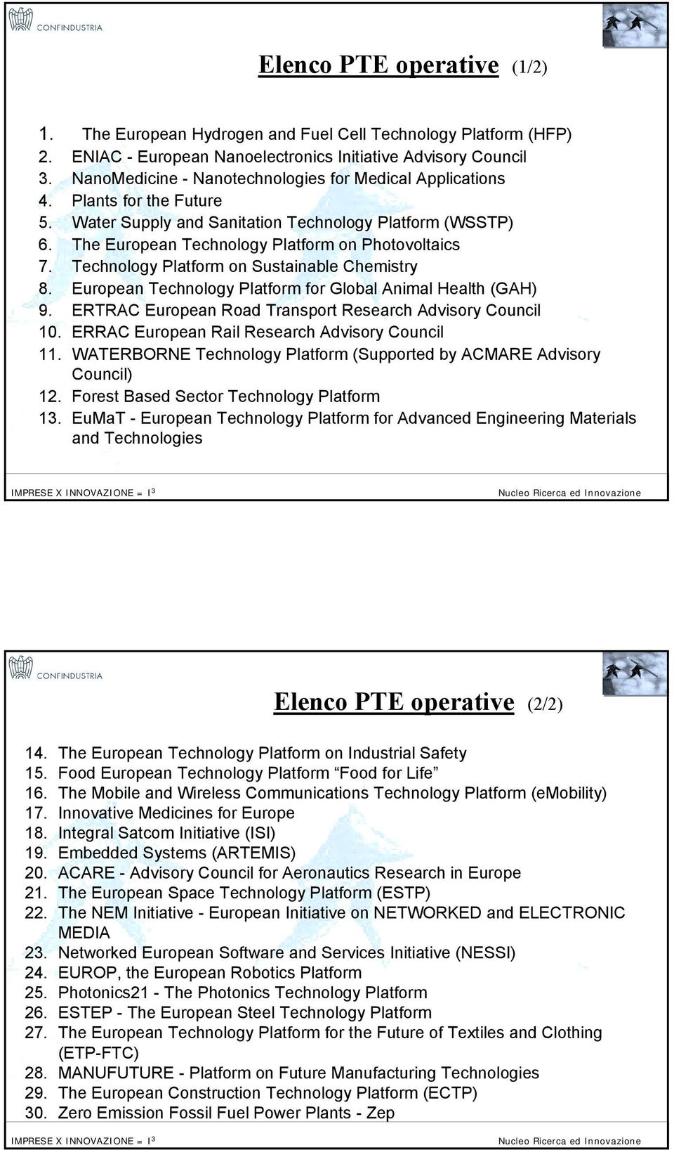 Technology Platform on Sustainable Chemistry 8. European Technology Platform for Global Animal Health (GAH) 9. ERTRAC European Road Transport Research Advisory Council 10.