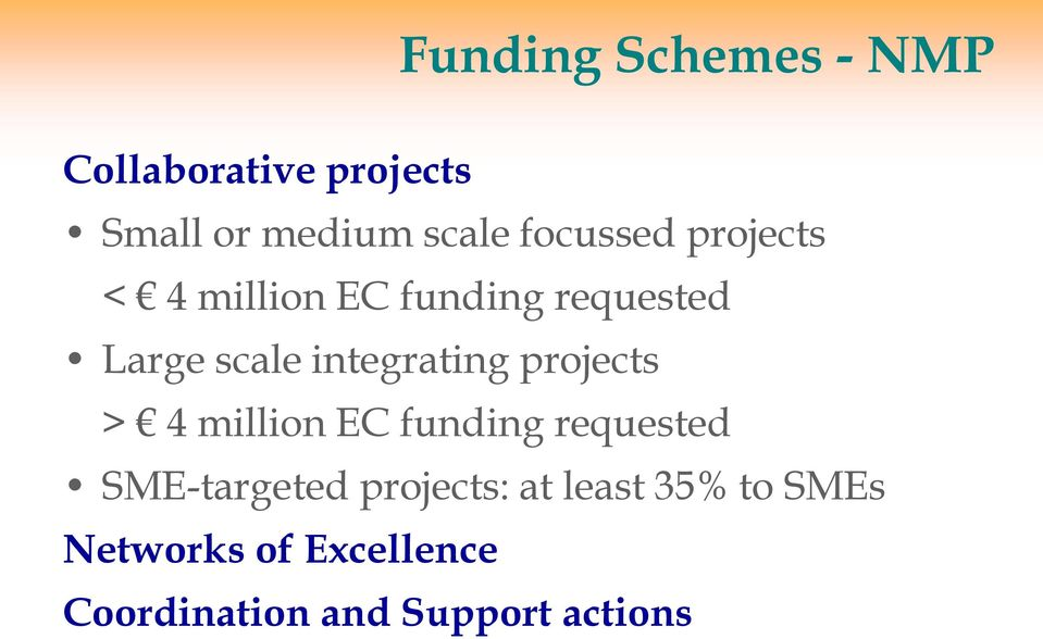 integrating projects > 4 million EC funding requested SME-targeted