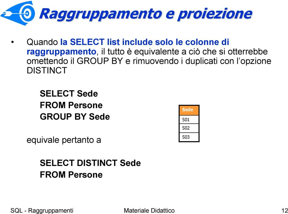 BY e rimuovendo i duplicati con l opzione DISTINCT SELECT FROM Persone GROUP BY