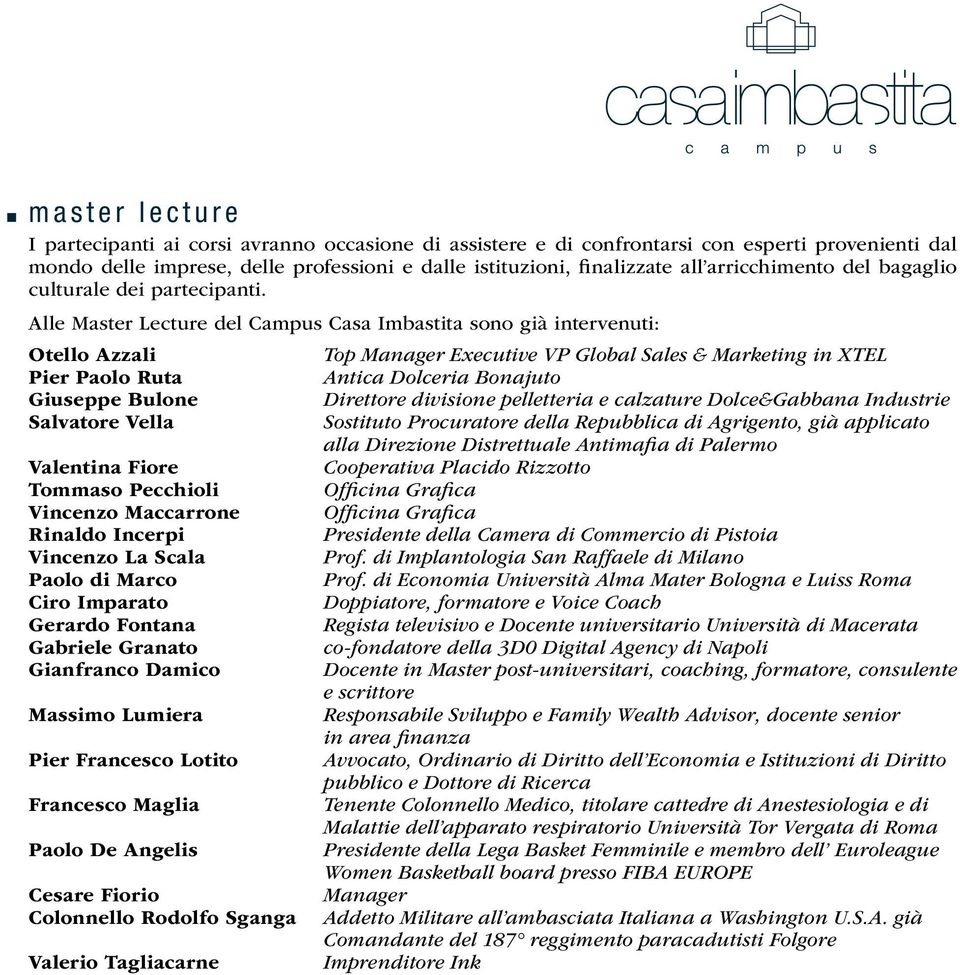Alle Master Lecture del Campus Casa Imbastita sono già intervenuti: Otello Azzali Top Manager Executive VP Global Sales & Marketing in XTEL Pier Paolo Ruta Antica Dolceria Bonajuto Giuseppe Bulone