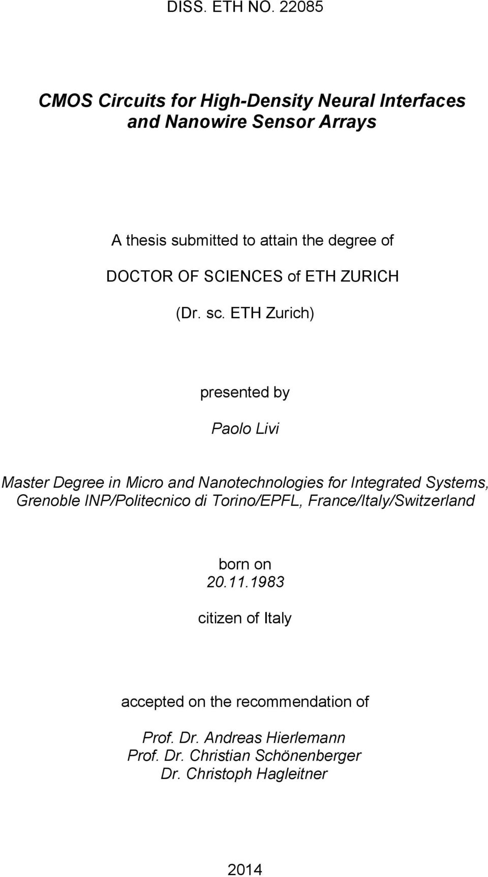DOCTOR OF SCIENCES of ETH ZURICH (Dr. sc.