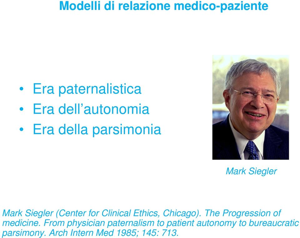 Clinical Ethics, Chicago). The Progression of medicine.