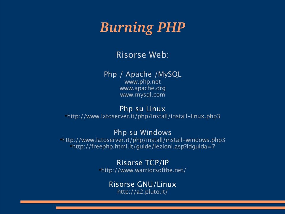 php3 Php su Windows http://www.latoserver.it/php/install/install-windows.