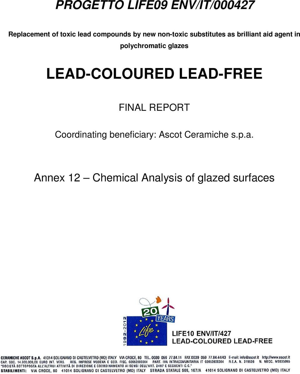 glazes LEAD-COLOURED LEAD-FREE FINAL REPORT Coordinating