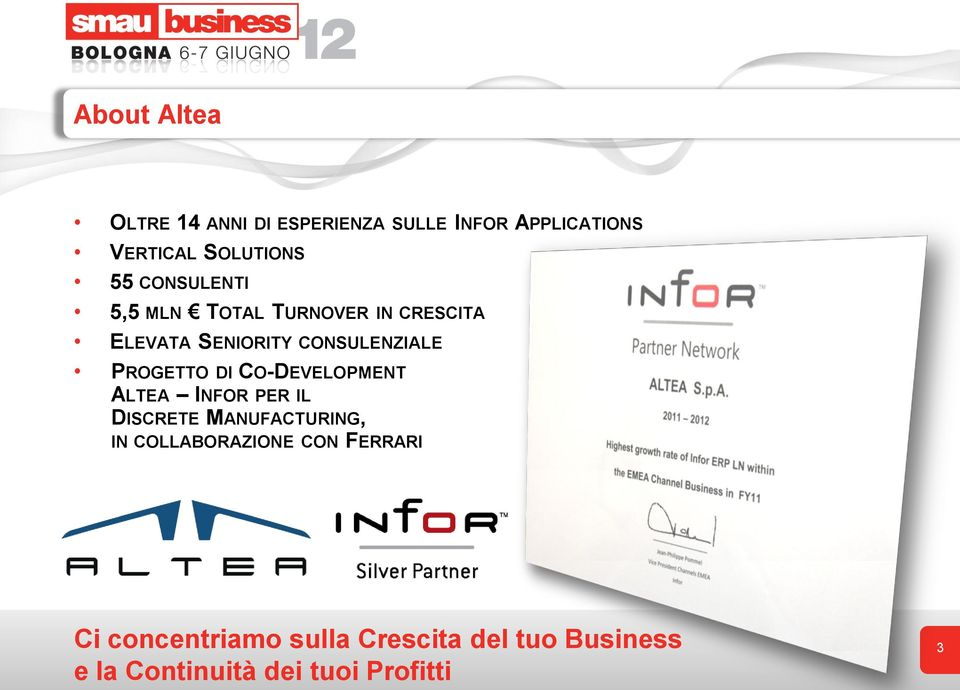 DI CO-DEVELOPMENT ALTEA INFOR PER IL DISCRETE MANUFACTURING, IN COLLABORAZIONE CON