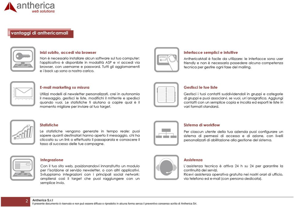 Interfacce semplici e intuitive AnthericaMail è facile da utilizzare: le interfacce sono user friendly e non è necessario possedere alcuna competenza tecnica per gestire ogni fase del mailing.