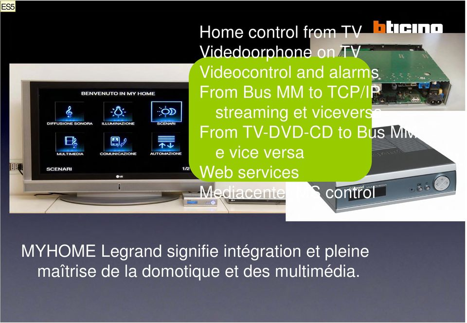 TCP/IP streaming et viceversa From TV-DVD-CD to Bus MM e vice versa Web