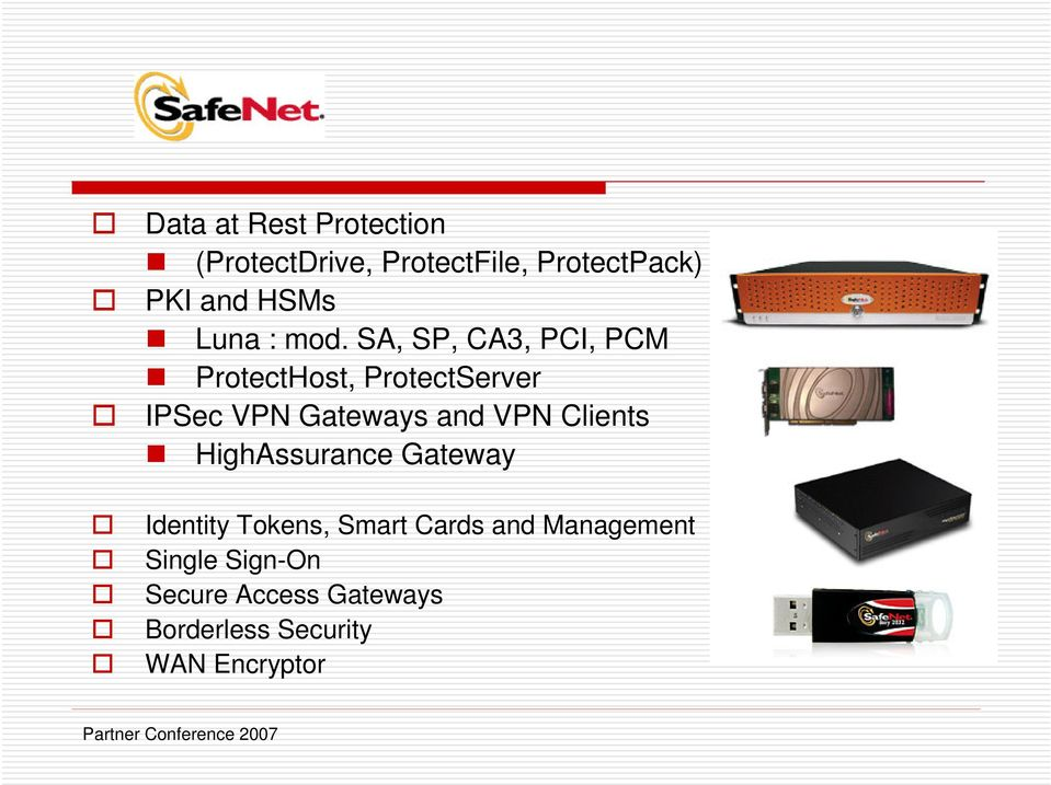SA, SP, CA3, PCI, PCM ProtectHost, ProtectServer IPSec VPN Gateways and VPN
