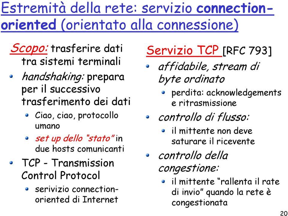 serivizio connectionoriented di Internet Servizio TCP [RFC 793] affidabile, stream di byte ordinato perdita: acknowledgements e ritrasmissione