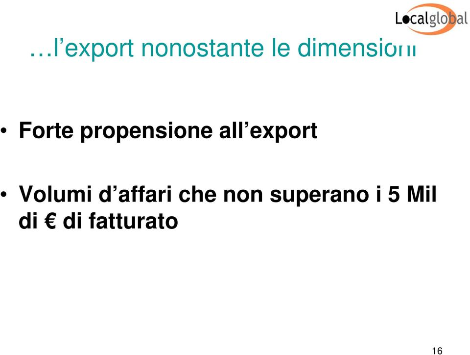 all export Volumi d affari che