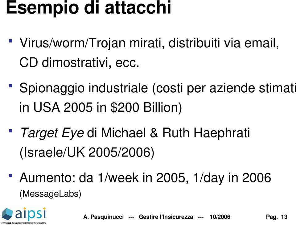 Target Eye di Michael & Ruth Haephrati (Israele/UK 2005/2006) Aumento: da 1/week in