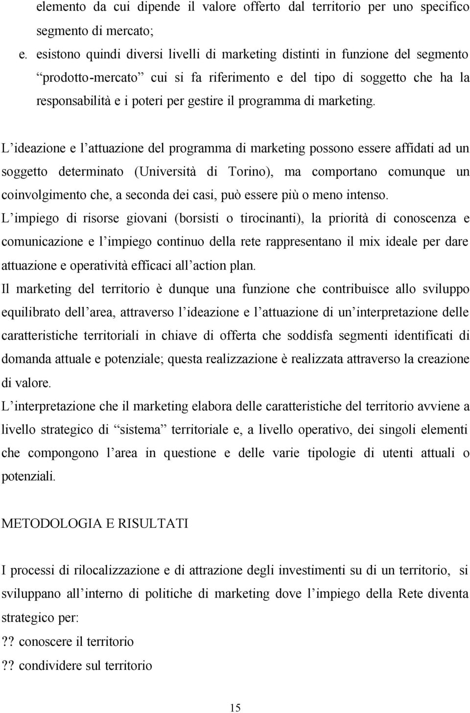 programma di marketing.