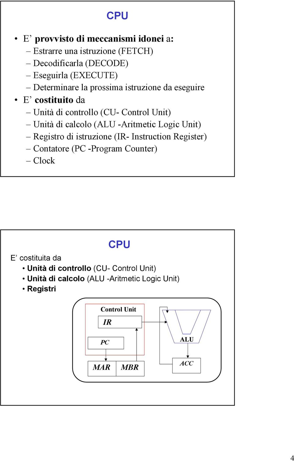 -Aritmetic Logic Unit) Registro di istruzione (IR- Instruction Register) Contatore (PC -Program Counter) Clock CPU E
