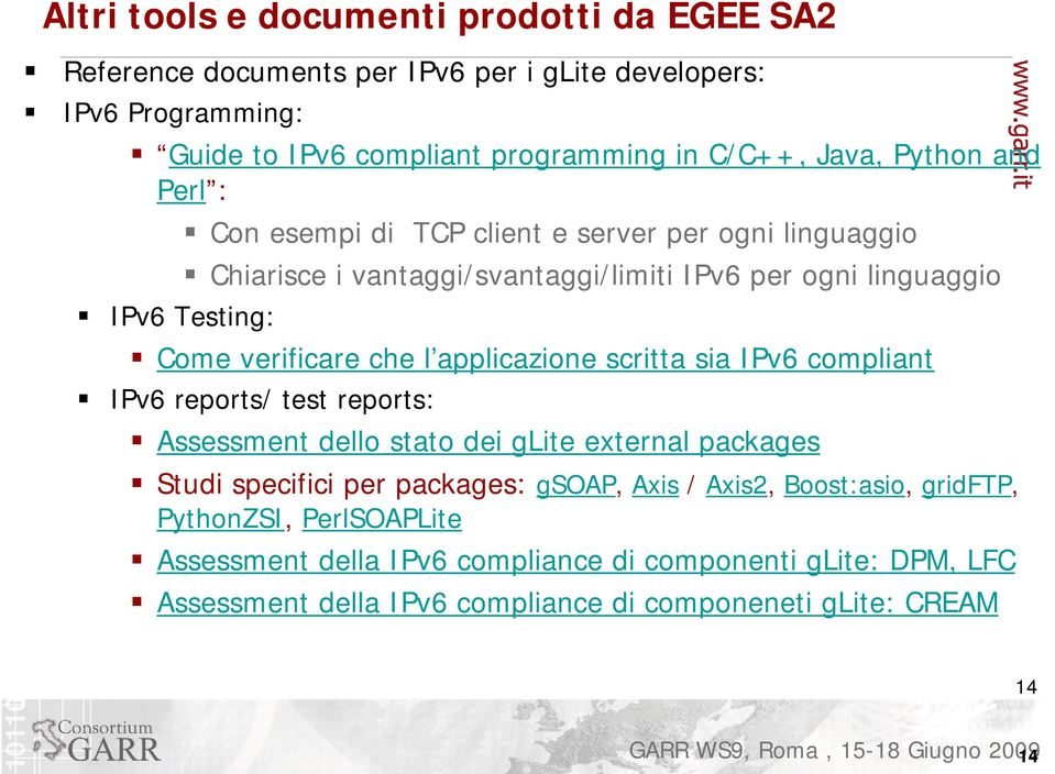 l applicazione scritta sia IPv6 compliant IPv6 reports/ test reports: Assessment dello stato dei glite external packages Studi specifici per packages: gsoap, Axis /
