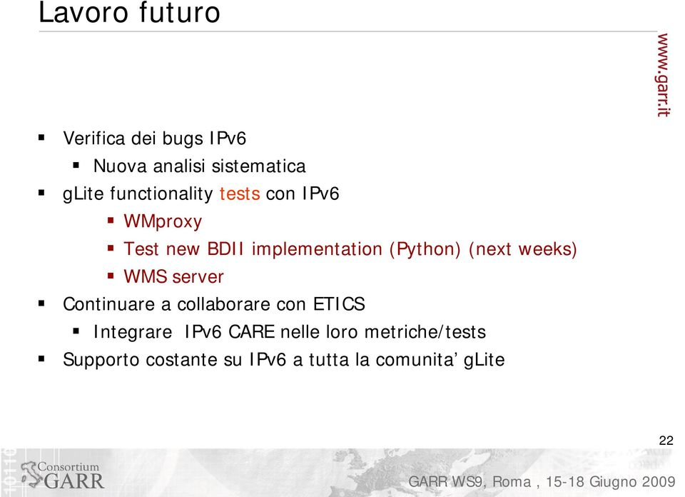 (next weeks) WMS server Continuare a collaborare con ETICS Integrare IPv6