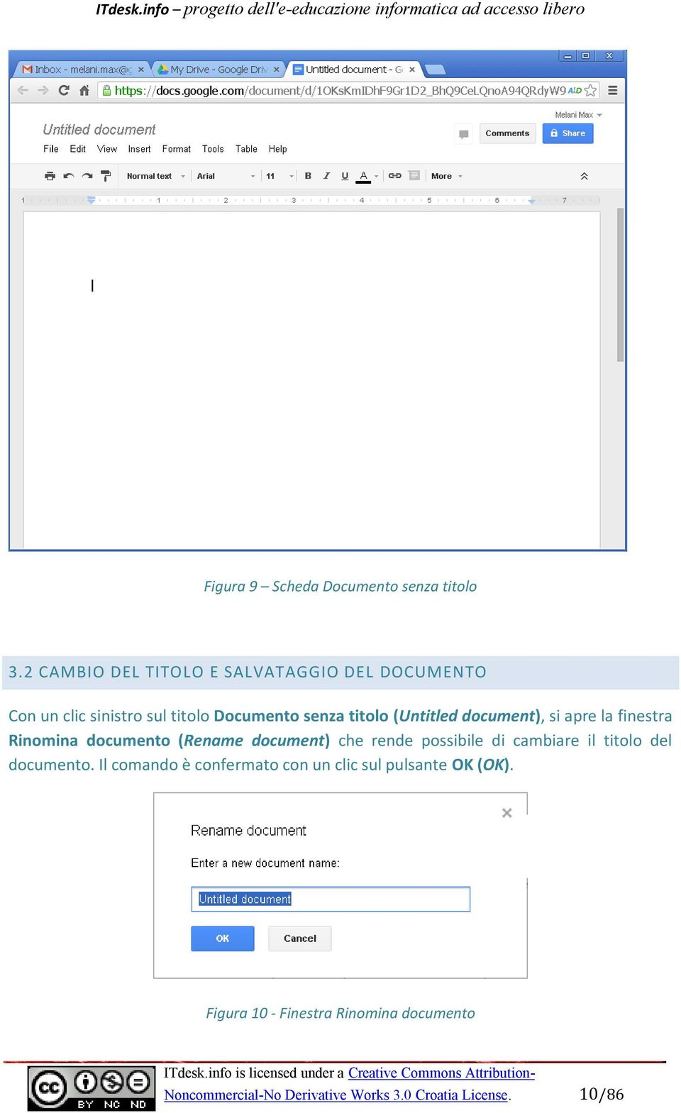 (Untitled document), si apre la finestra Rinomina documento (Rename document) che rende possibile di cambiare