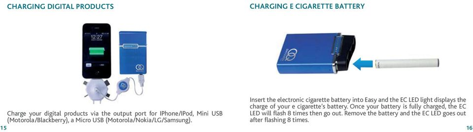 Once your battery is fully charged, the EC Charge your digital products via the output port for IPhone/IPod, Mini