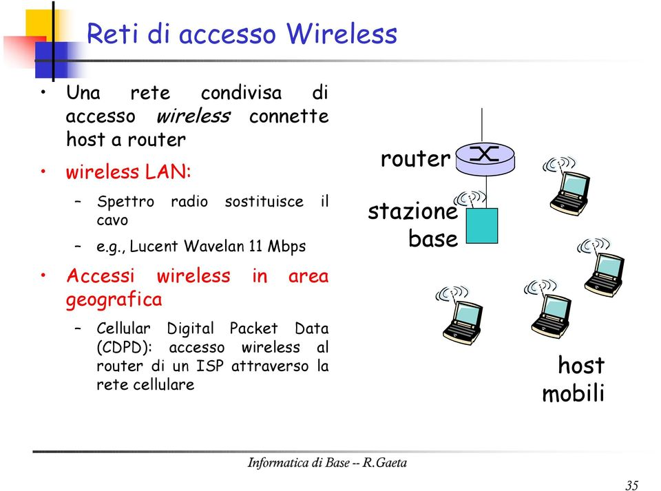 , Lucent Wavelan 11 Mbps Accessi wireless in area geografica Cellular Digital Packet