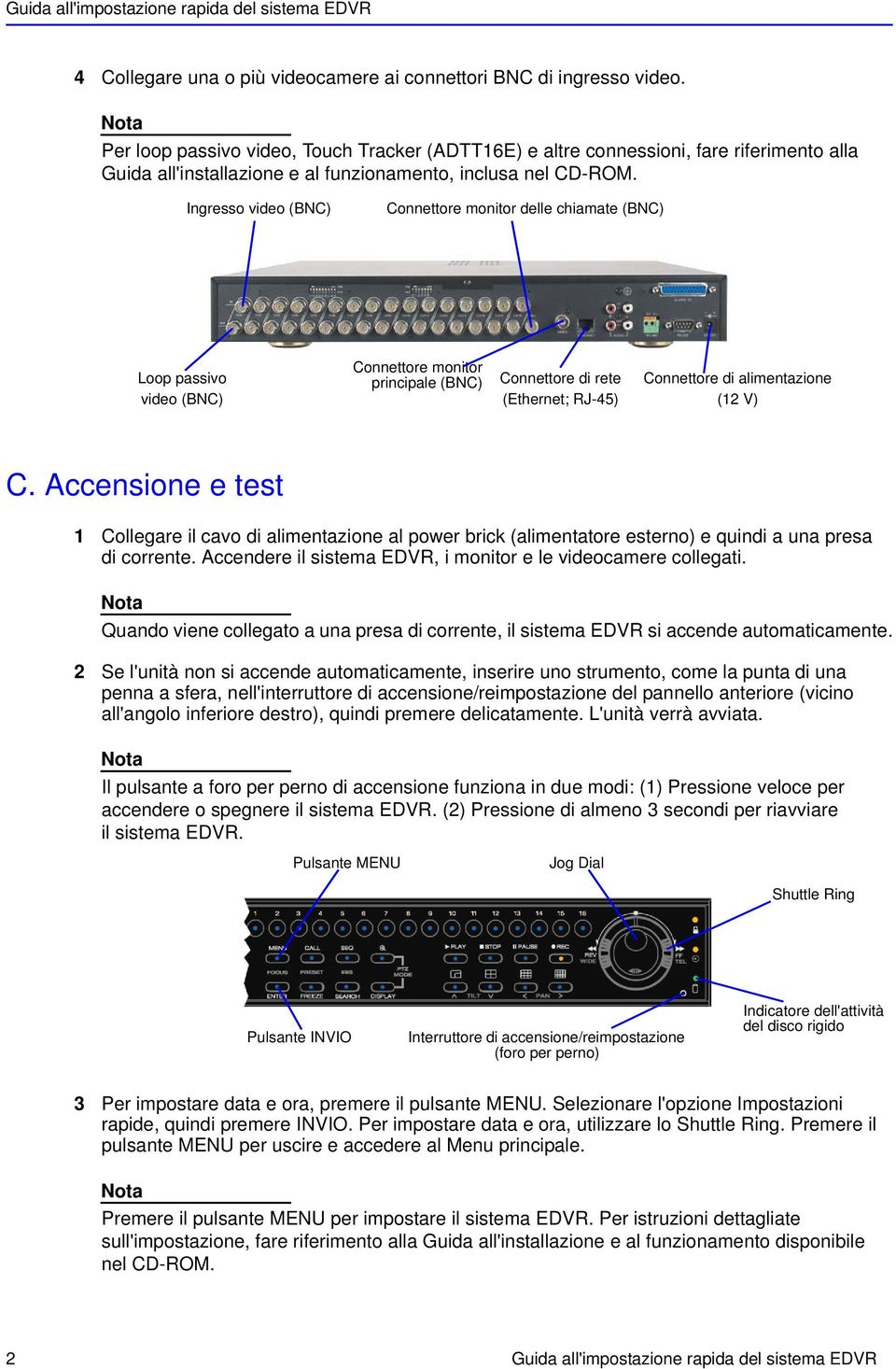 Ingresso video (BNC) Connettore monitor delle chiamate (BNC) Loop passivo video (BNC) Connettore monitor principale (BNC) Connettore di rete (Ethernet; RJ-45) Connettore di alimentazione (12 V) C.