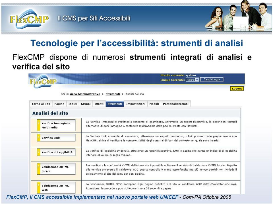 analisi e verifica del sito FlexCMP, il CMS accessibile