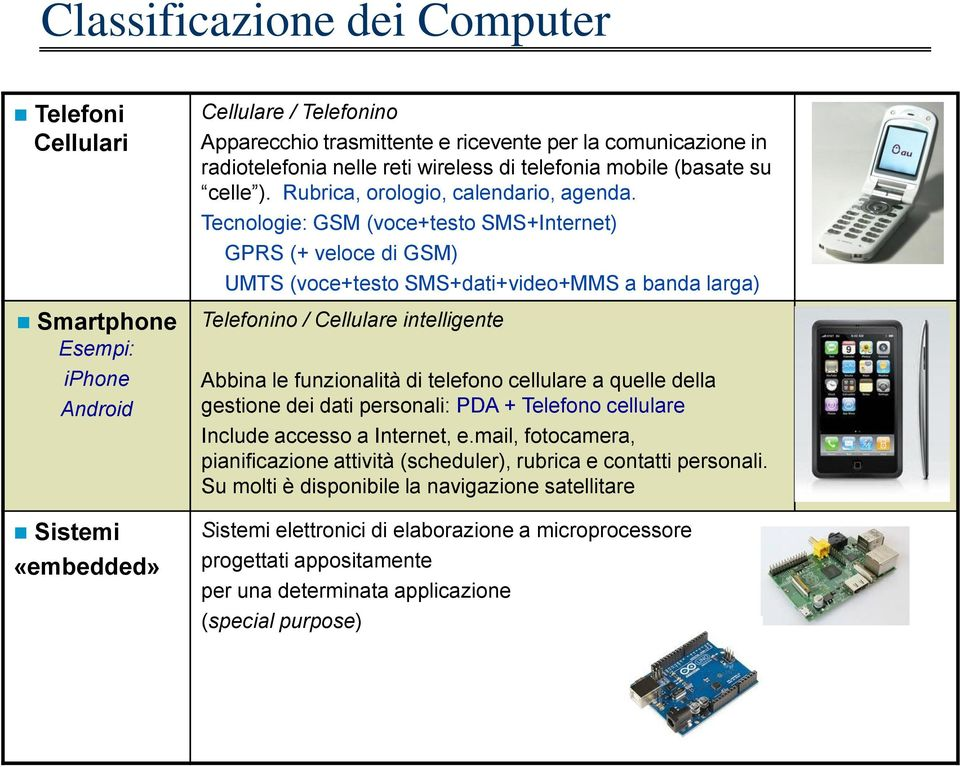 Tecnologie: GSM (voce+testo SMS+Internet) GPRS (+ veloce di GSM) UMTS (voce+testo SMS+dati+video+MMS a banda larga) Smartphone Esempi: iphone Android Sistemi «embedded» Telefonino / Cellulare