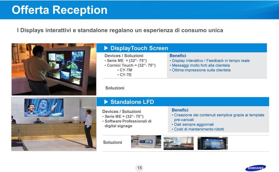 clientela Standalone LFD Devices / Serie ME = (32-75 ) Software Professionali di digital signage