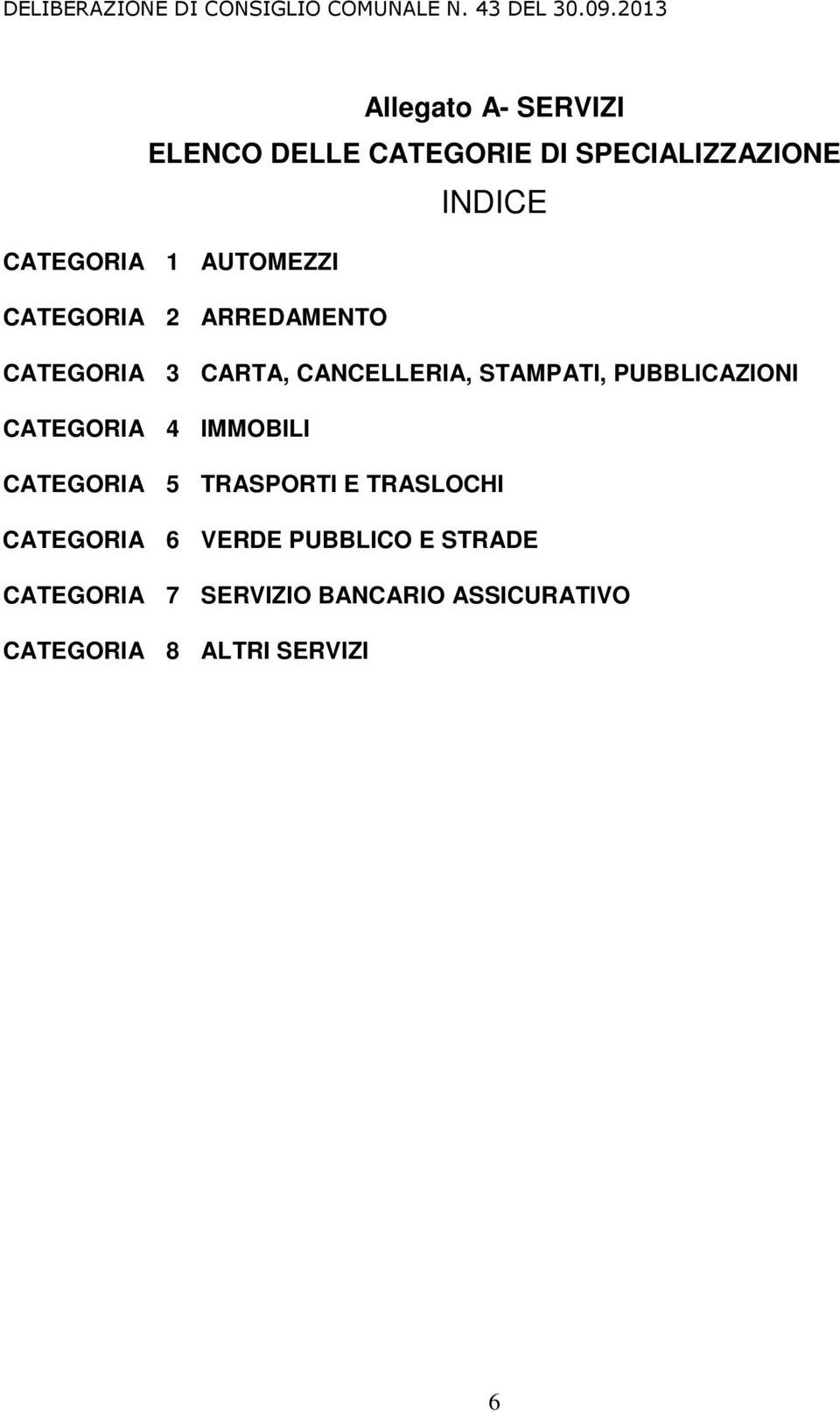 CATEGORIA 4 IMMOBILI CATEGORIA 5 TRASPORTI E TRASLOCHI CATEGORIA 6 VERDE