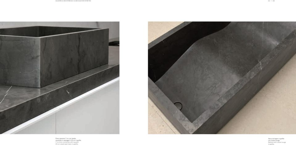 7 cm thick countertop with squared 20 cm raised wash basin in grafite.