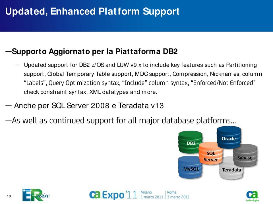 x to include key features such as Partitioning support, Global Temporary Table support, MDC