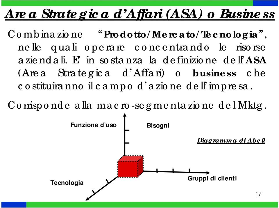 E in sstanza la definizine dell ASA (Area Strategica d Affari) business che cstituirann