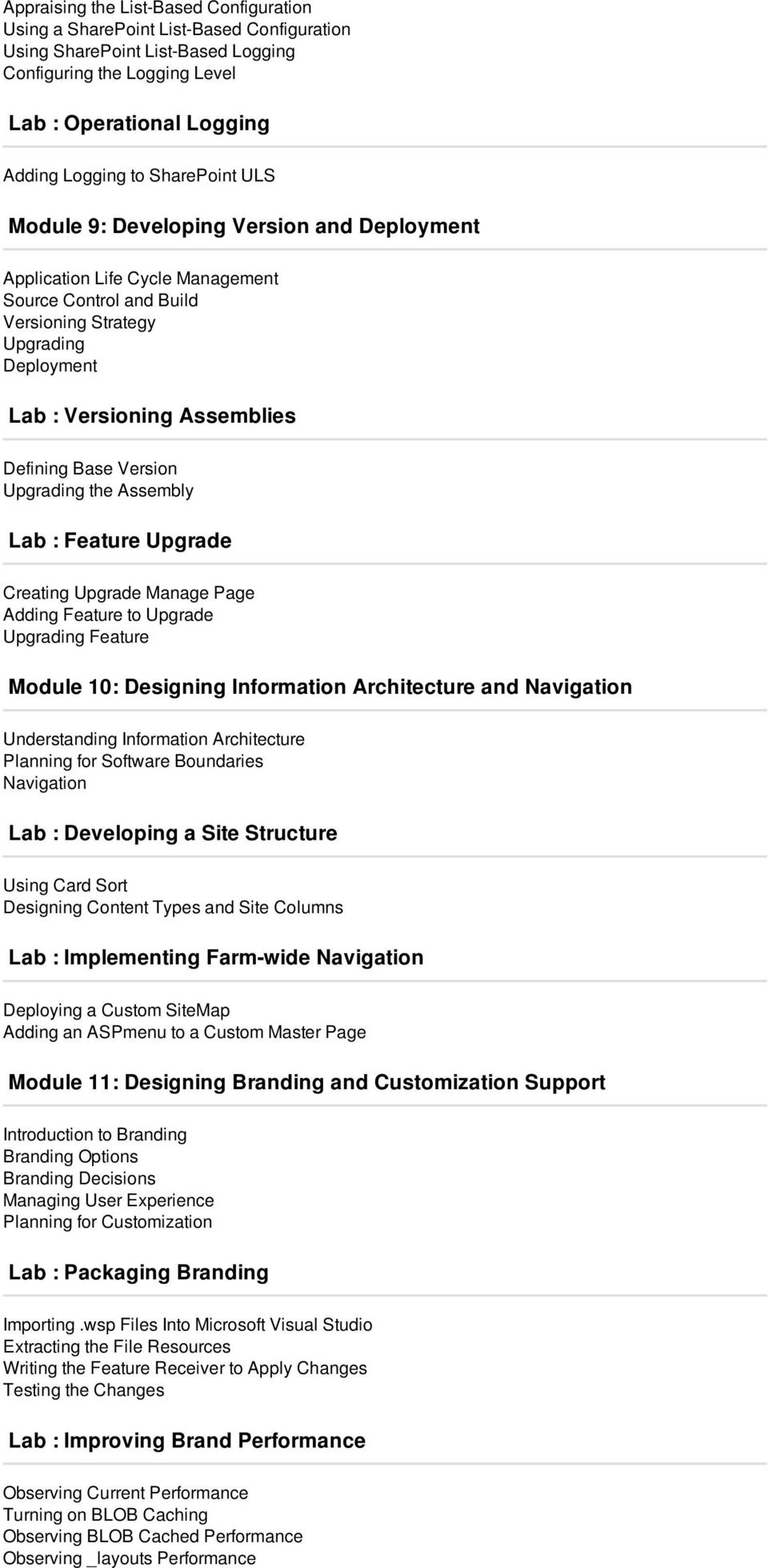 Base Version Upgrading the Assembly Lab : Feature Upgrade Creating Upgrade Manage Page Adding Feature to Upgrade Upgrading Feature Module 10: Designing Information Architecture and Navigation