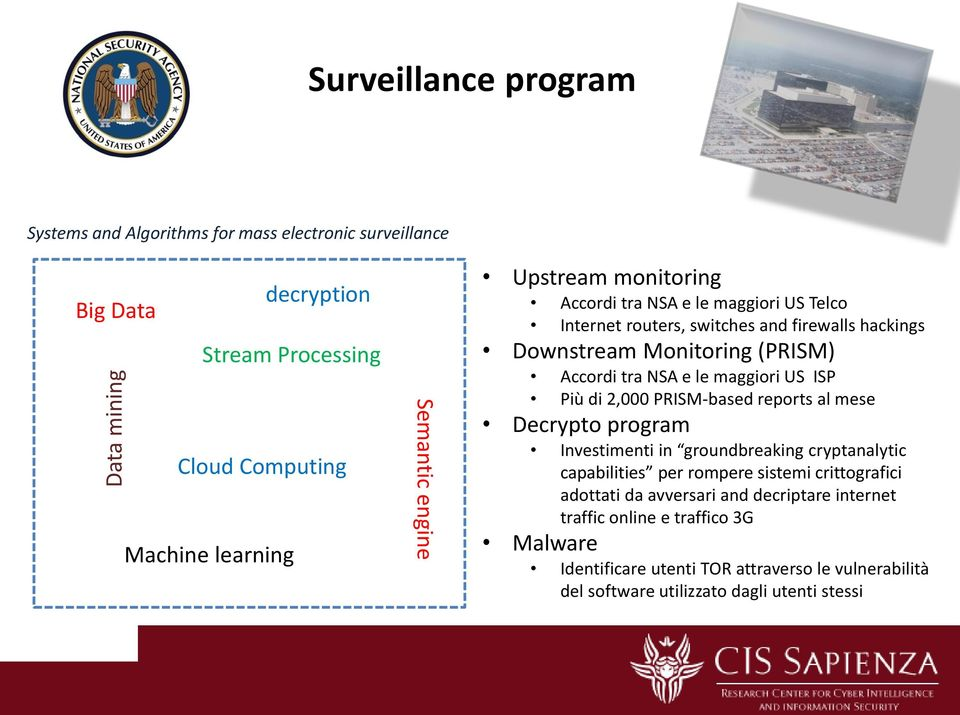 NSA e le maggiori US ISP Più di 2,000 PRISM-based reports al mese Decrypto program Investimenti in groundbreaking cryptanalytic capabilities per rompere sistemi