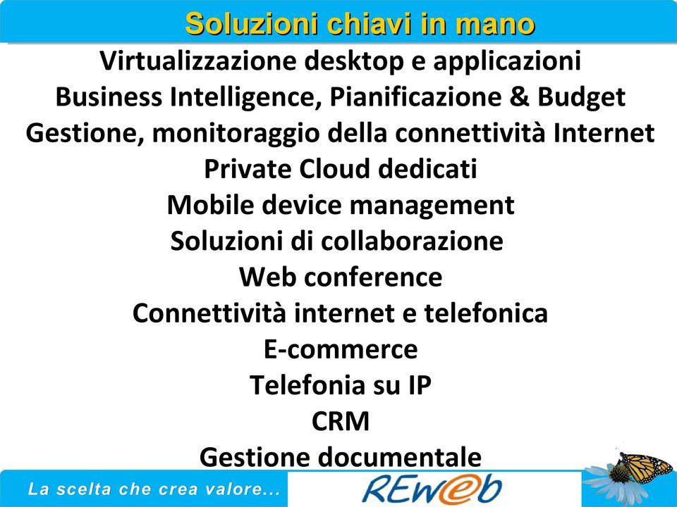 Internet Private Cloud dedicati Mobile device management Soluzioni di collaborazione