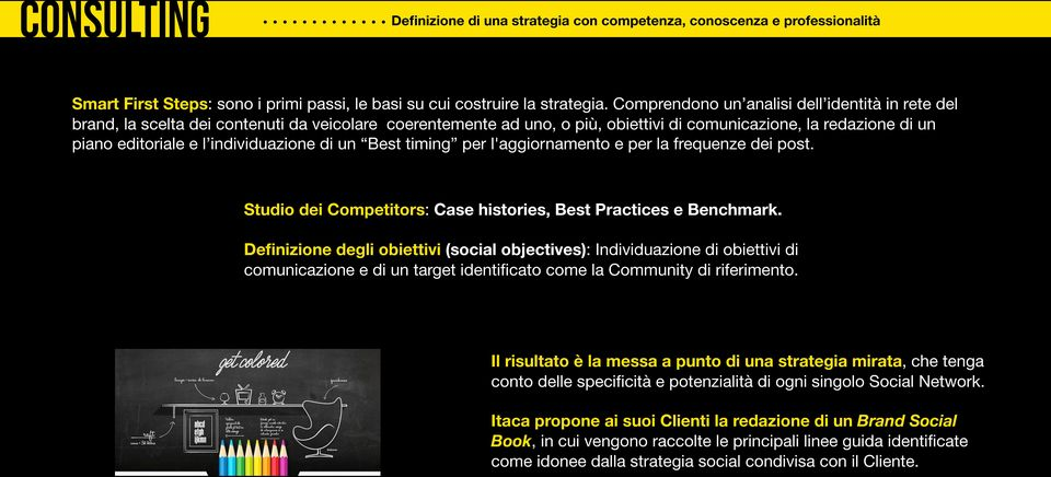 individuazione di un Best timing per l'aggiornamento e per la frequenze dei post. Studio dei Competitors: Case histories, Best Practices e Benchmark.