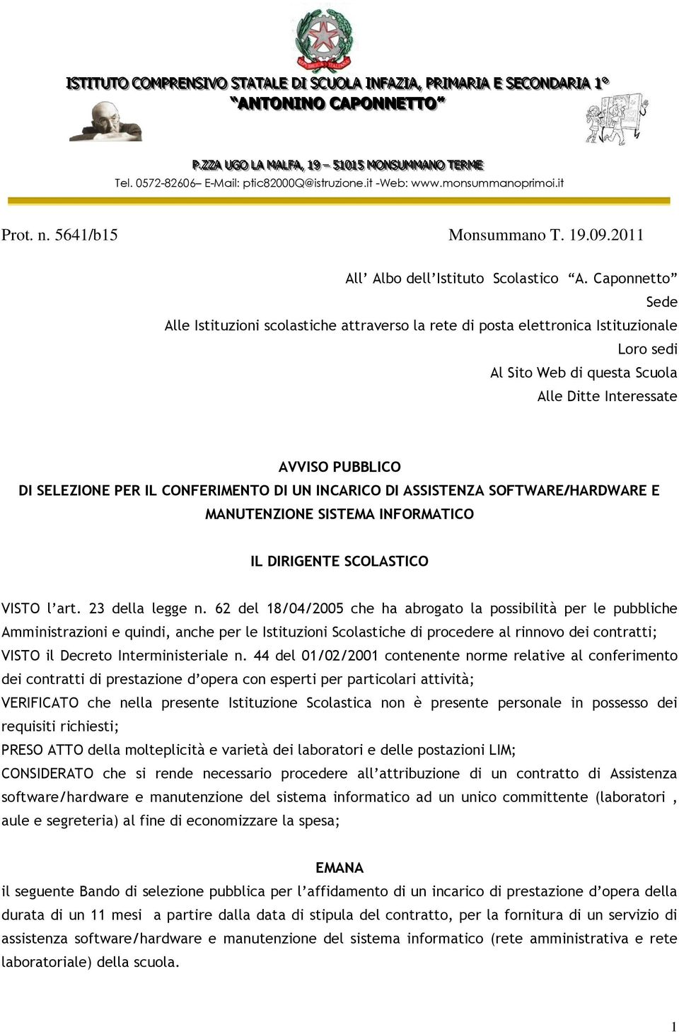 19.09.2011 All Albo dell Istituto Scolastico A.