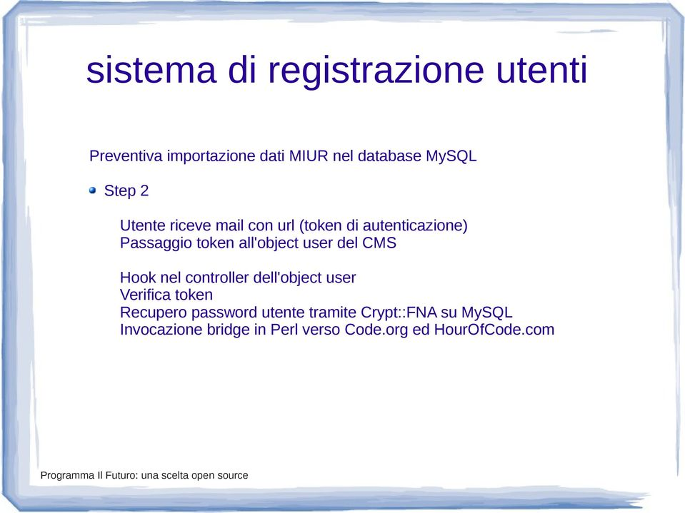 user del CMS Hook nel controller dell'object user Verifica token Recupero password