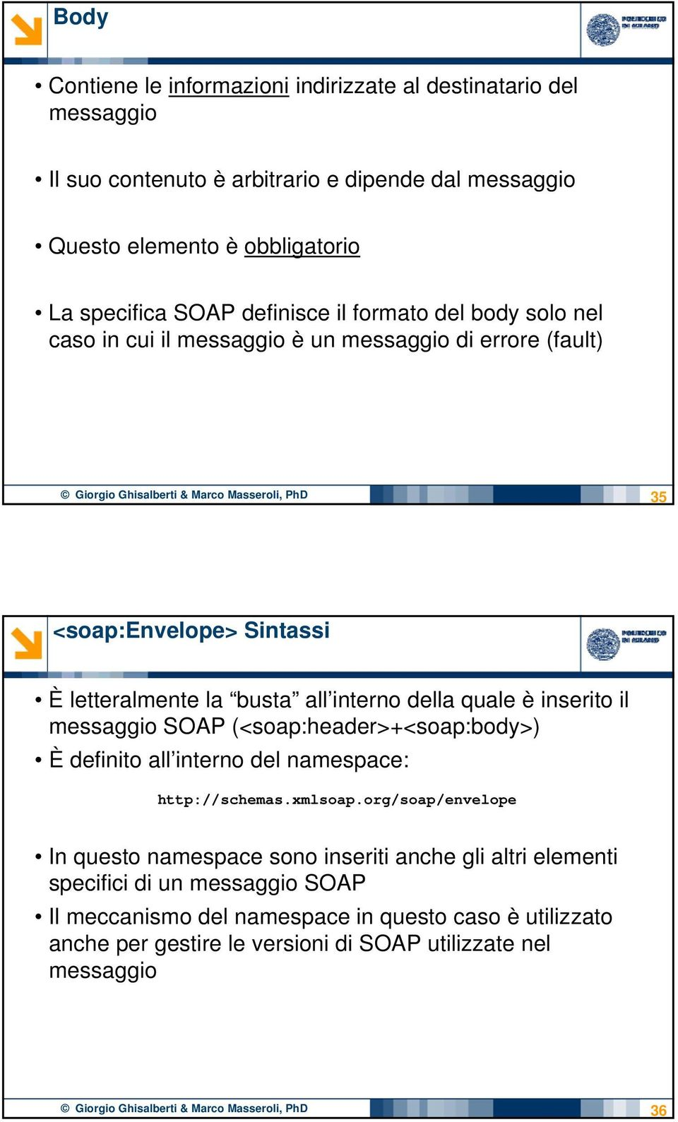 è inserito il messaggio SOAP (<soap:header>+<soap:body>) È definito all interno del namespace: http://schemas.xmlsoap.