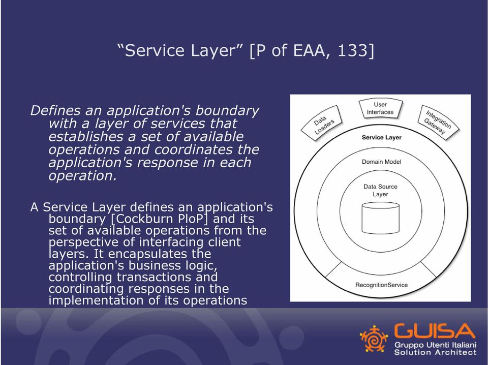 A Service Layer defines an application's boundary [Cockburn PloP] and its set of available operations from the perspective