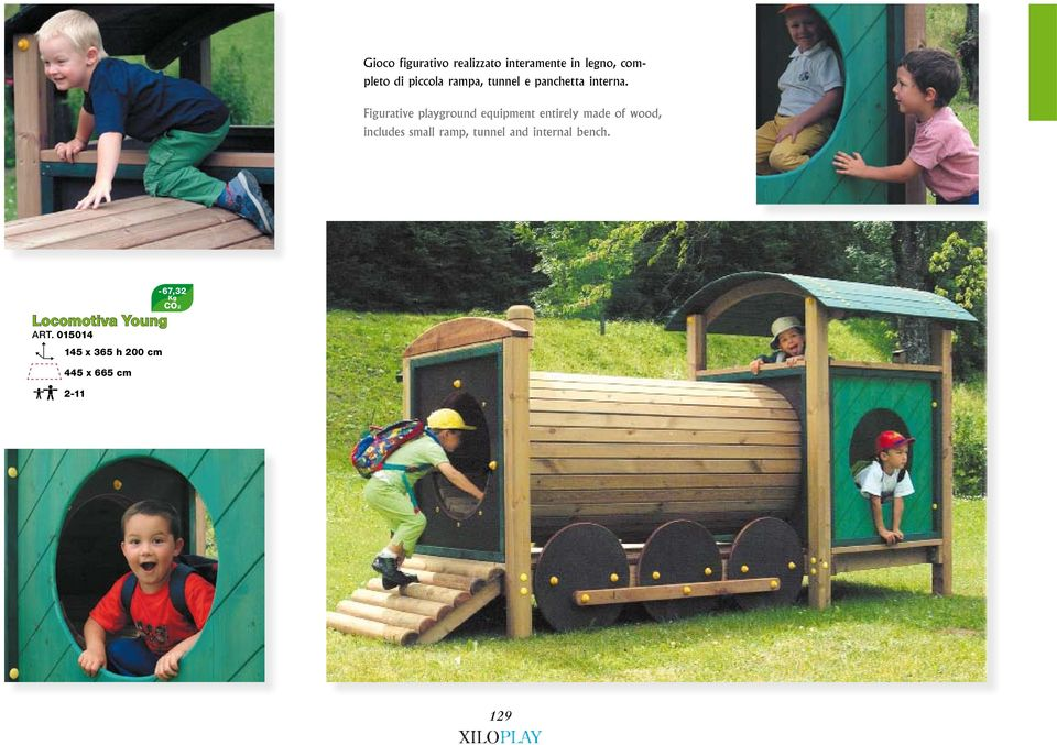 Figurative playground equipment entirely made of wood, includes small