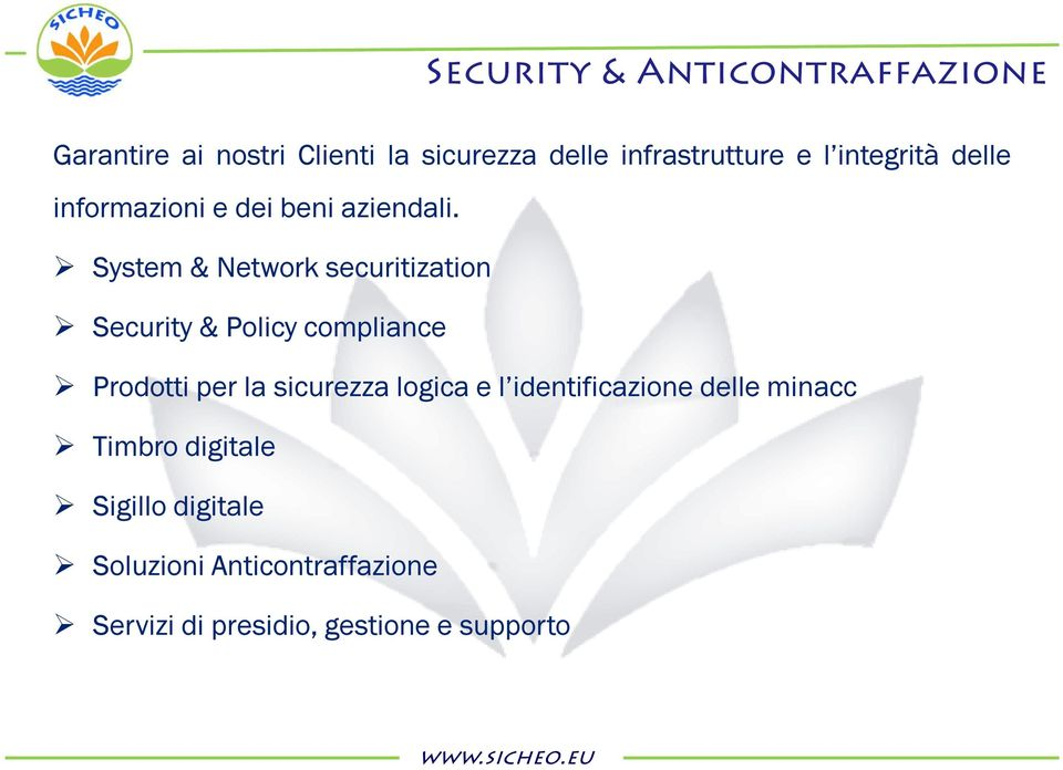 System & Network securitization Security & Policy compliance Prodotti per la sicurezza logica e l