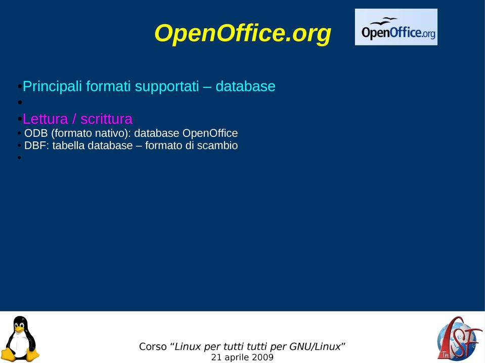 database OpenOffice DBF: tabella database