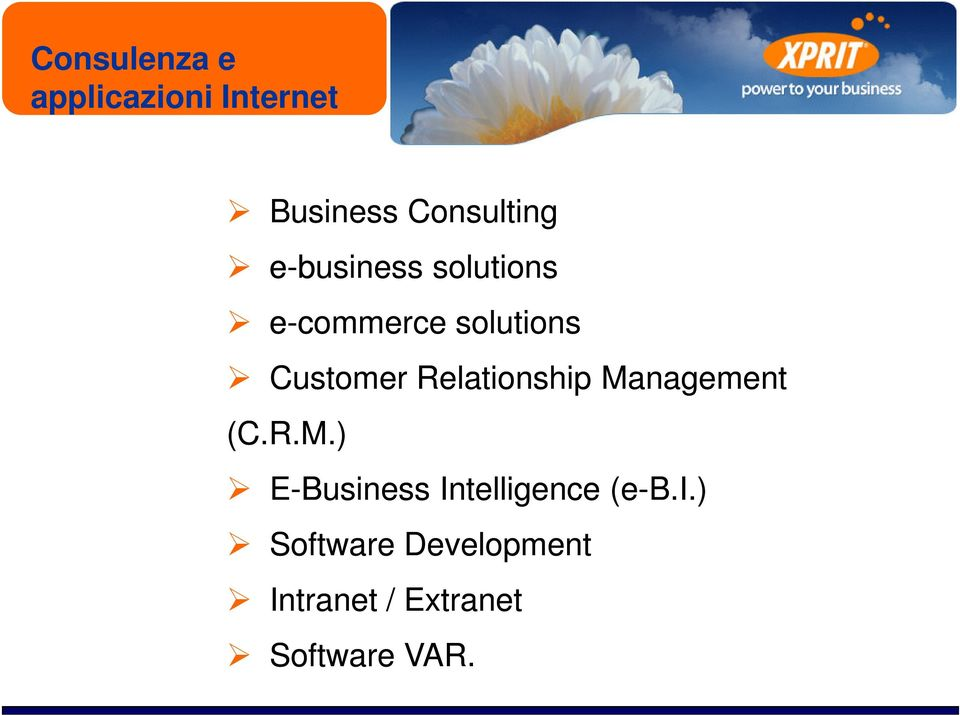 Relationship Management (C.R.M.) E-Business Intelligence (e-b.