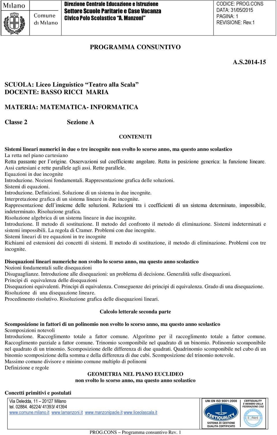 Programma consuntivo pdf for Differenza di due quadrati