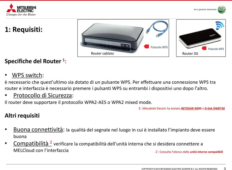 Protocollo di Sicurezza: Il router deve supportare il protocollo WPA2-AES o WPA2 mixed mode.