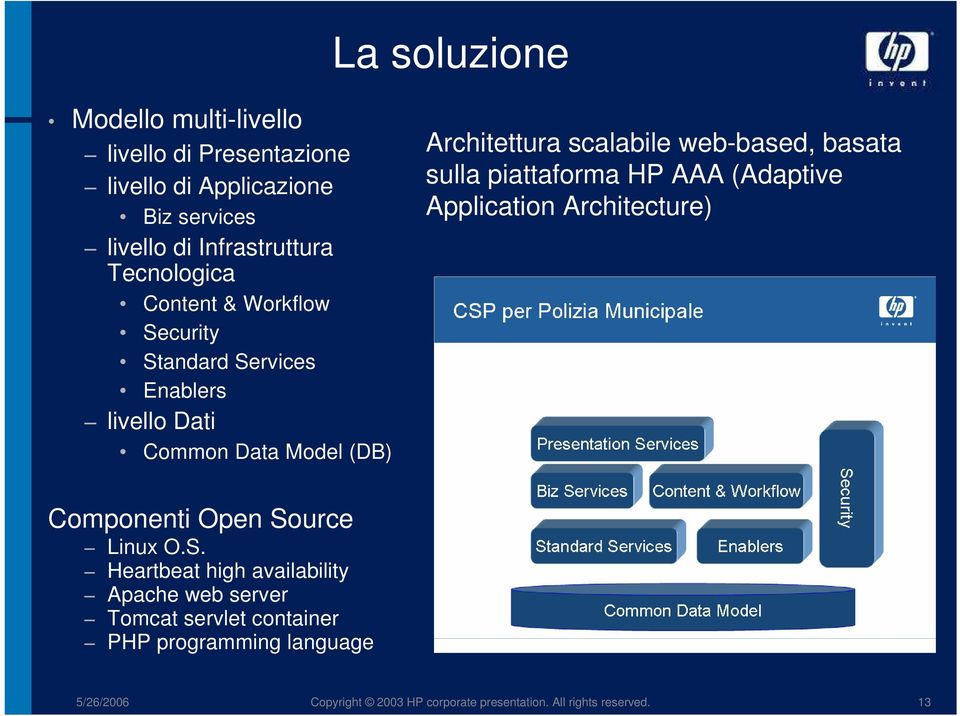 web-based, basata sulla piattaforma HP AAA (Adaptive Application Architecture) Componenti Open So